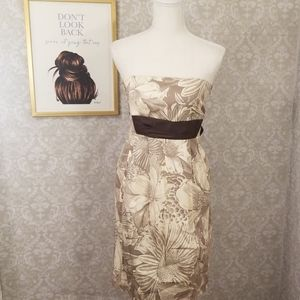 Maeve (Anthropologie) Brown Floral Strapless Dress